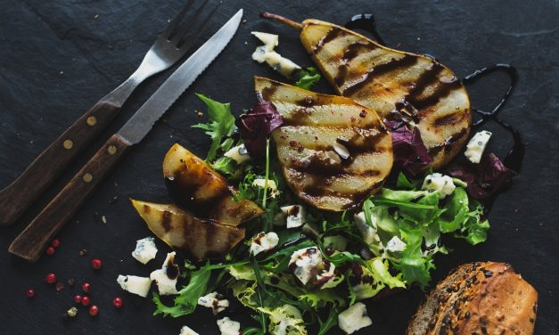 Grilled Pear and Gorgonzola Salad with Balsamic Demi Glaze
