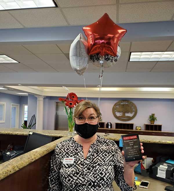 Jenny Dove Teller First Bank Award NC