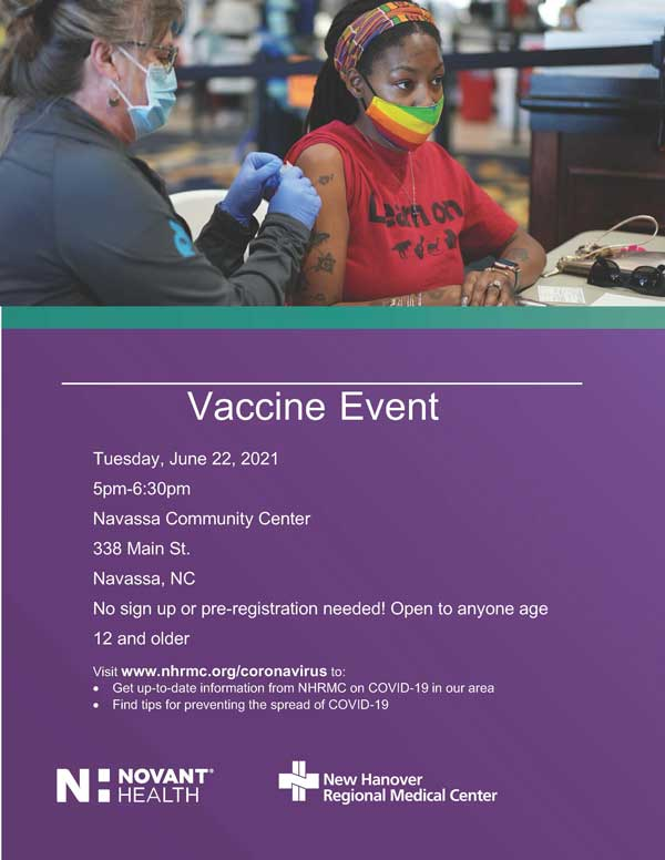 Vaccine Event Flyer Navassa NC