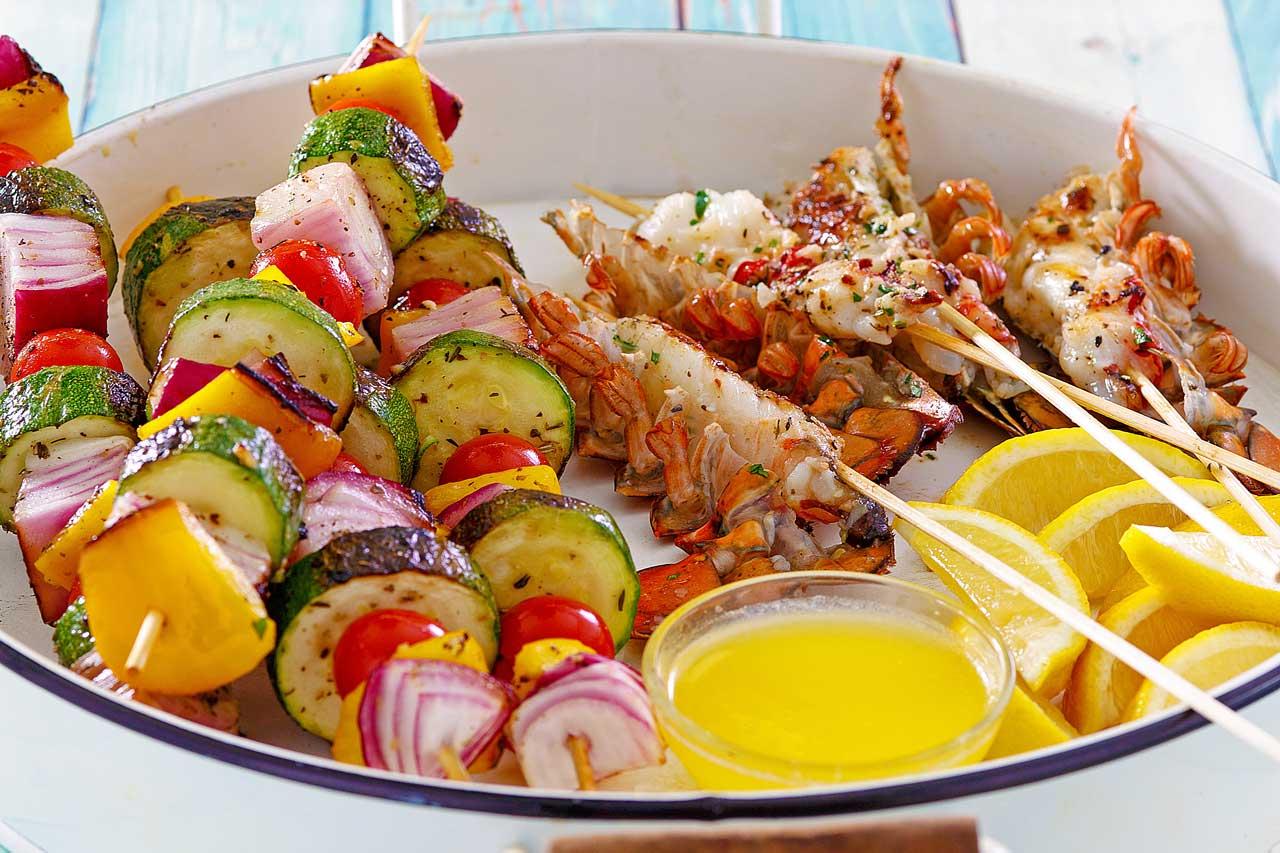 Lobster and Veggie Skewers